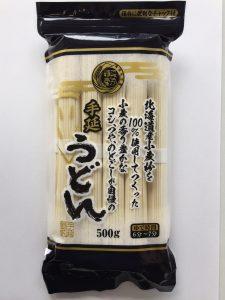 北海道産小麦粉を100%使用してつくった小麦の香り豊かなコシ、つや、のどごしが自慢の手延うどん500g